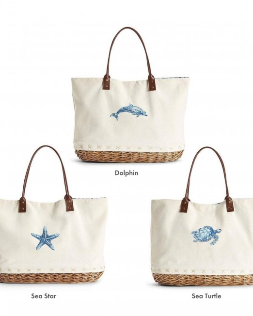 basket-bottom totes with text ID